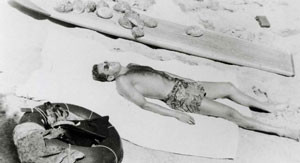 That's me soaking some rays after a San Clemente ab dive in 1943.