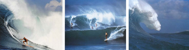 (far left) 1969, Ricky (Griff) at Waimea, shot from Jose's boat. (middle) Sunset Beach with Paul Gebauer, Rusty and Ricky outside and Kimo (Hillinger) on the inside. Later, Kimo took a horrible near-death wipeout at Waimea and never went out there again. (left) Sunset Beach. I was paddling out and saw this beautiful peak with nobody on it. The sky, lighting, the peak at the far end of the bend in the line. I had o capture it - what every surfer would like to see on the way out.