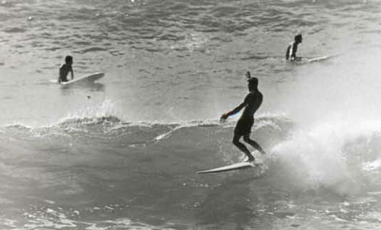 Action in the Makaha shore break, Winter, 1957-58. Johnny McMahon and I were renting a house on the point (we were out of the Quonset hut stage by then). Surf photography was a hobby for me at the time and there was a lot of good stuff going on right there in the shore break in front of our house.