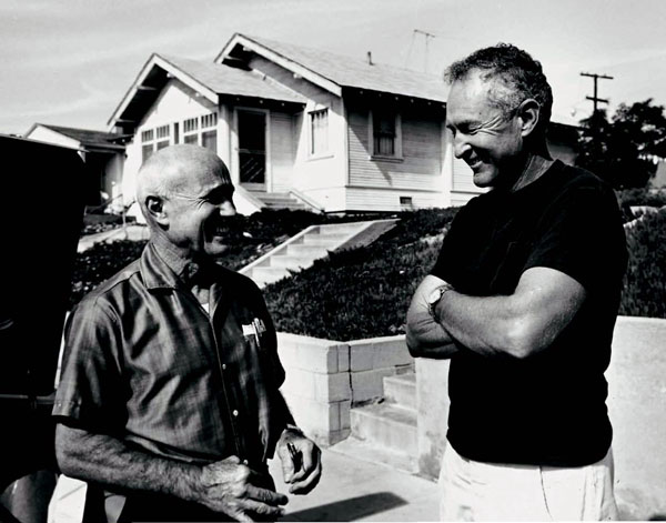 """Ball and Grannis, """"in front of my house at 2124 Monterey, Hermosa Beach,"""" c. 1968."""