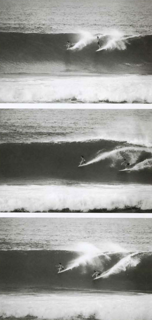 (sequence) Butch Van Artsdalen (through a lupe it looks a lot like Hakman-Ed.) in front of Johnny Fain at Haleiwa, 1962-63. Fain was a big deal hotdog at Malibu and I remember thinking it took a lot of guts for him to ride some of the waves I saw him catch that winter at Haleiwa and Sunset.