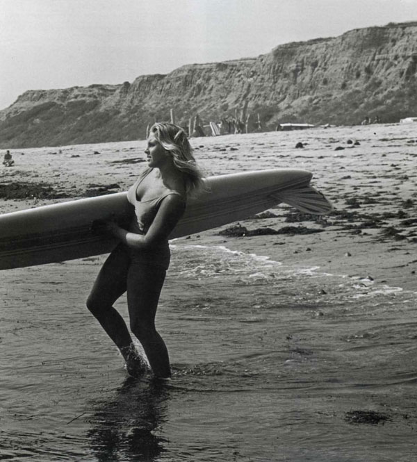 Candy Calhoun, San Onofre, Summer, 1963. Like her mother Marge (1955 Makaha Women's Champ) Candy was an all-around water woman, a good swimmer, diver, board surfer and body surfer.