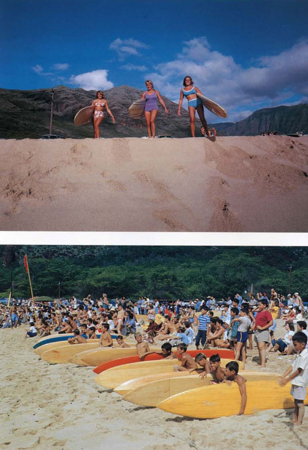 (top) The Calhoun tribe, Robin, Marge and Candy at Makaha, 1963-64. This was a beautiful weekday, just a few surfers out, and they were there just to have fun. The Calhouns were unique in the surfing world, a family comprised solely of women who traveled and surfed together.