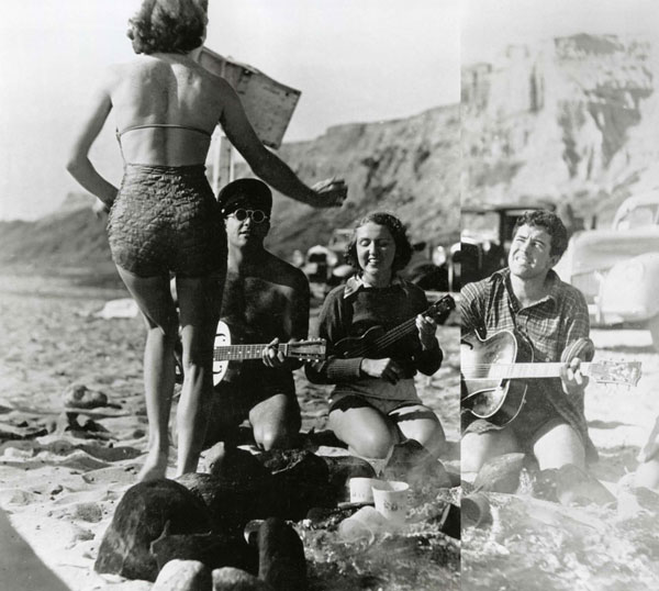 1938, 'Nofre. Barney Wilkes (San Onofre Club founder) and Bruce Duncan were strumming while a gal named Eleanor did an impromptu hula. The mystique of Hawaii was prevalent. Sam Reid would come back and tell stories of huge Castles and going backside at Cunhas, and of the air all through Waikiki being filled with mist and spray from those waves. We heard these stories and got charged up.