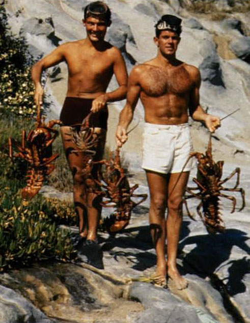 """1943, Laguna Beach. Murray Zimmerman (we called him """"The Lung"""" because he could hold his breath for three minutes) and I got these bugs, a couple hundred yards off where the Coast Inn is now at a hole we called the Judge's Chamber. There were always two big 15-20 lb. bulls sitting in there. We'd get 'em and the following weekend there'd be two more."""