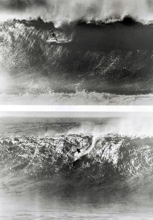 (top) Greg Noll and (above) Jose Angel, Waimea Bay, Winter 1962-63. According to Greg, this was his first wave from getting off the plane and going right to the Bay. He landed on his board, hurt his shoulder and says he can still feel it to this day, almost thirty-five years later. Jose was noted for riding deeper than anyone. He was out alone the day he caught this wave. He traded me a giant turtle shell for a color print of the photo.