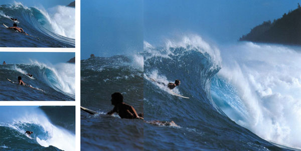 Joey buran, Waimea Bay, 1983. I was in a Whaler with Mike Holmes, who I liked to use as a boat operator to take advantage of his big wave knowledge. These shots show how accidental the taking of a unique photo can be. The boat couldn't reverse and Joey was almost out of my frame by the fourth shot. But each image has its own strength...the beginning of a vertical descent into Hades. (the 4th shot was used as a Surfing magazine cover, the rest until now were unpublished.-Ed.)