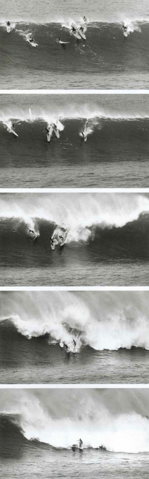 Waimes Bay, November 7, 1957, the first day it was ridden. This is probably one of the first waves. That's Mickey Munoz on the far right, Del Cannon to his left finally making it to the bottom - Stang and Curren were out there too. (Mickey recalls that Seal Beach surfer Harry Schurch might have caught the very first wave ridden that day.) I was driving by the Bay on the way to Sunset and noticed some guys standing there on the point watching it so I pulled over. Pretty soon a few of them paddled out and started catching waves, it was simple as that. I was taking pictures and Bud (Browne) was standing next to me filming. The waves were mostly in the 15'18' range with a couple of twenty footers. In hindsight, it was not that huge, but the psychological hurdle was immense because of the Woody Brown-David Cross incident back in '46.