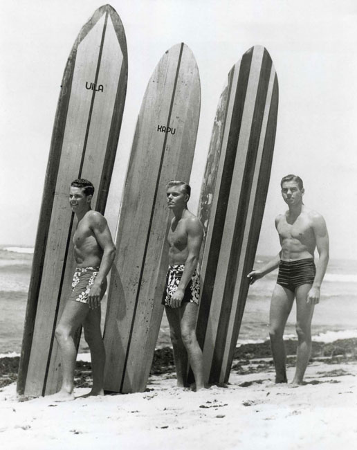 1939, 'Nofre. Me, Ed Fearon and Bud Rice were the only three surfers at Santa Monica High at the time - everybody thought we were crazy. We dreamt of Hawaii; when we'd hear someone was going, we'd ask them to bring us flowered trunks from Lynn's in Waikiki. We ended up joining the Navy R.O.T.C. on the chance a summer cruise would take us there, but by 1940 our country was too close to war for it to happen.