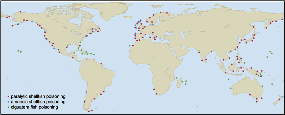 Map of seafood poisonings.