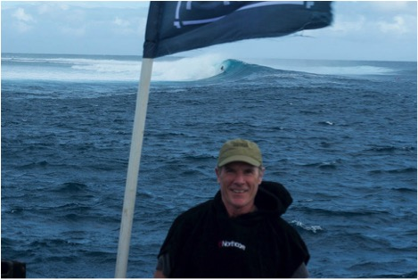 Another day at the office…Terry at Cloudbreak, Fiji.